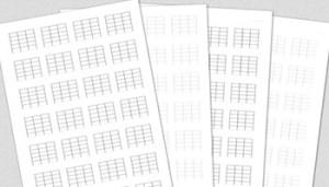[無料]白紙のダイヤグラム TAB コード譜メモ 3フレット版